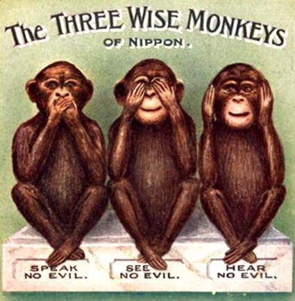 three wise monkeys. Black Bedroom Furniture Sets. Home Design Ideas