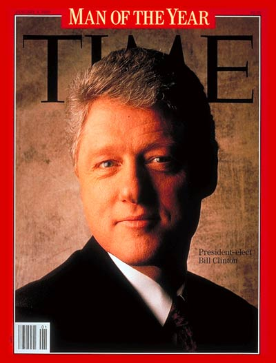 Clinton with Devil's horns, with letter M stretched (1993, Jan 4)