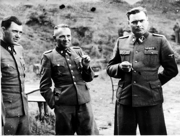 Dr. Josef Mengele, Rudolf Hoess and Josef Kramer