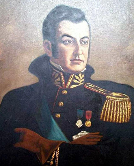 This is the image of jose de san martin on a painting from the museo del carmen in santiago de chile