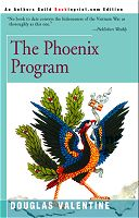 bookcover features a painting of the Phung Hoang, the Vietnamese phoenix bird, standing on a map of Vietnam.  It looks basically like a very colorful rooster.