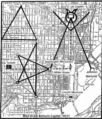 "If you look over Washington D.C. the streets are laid out in a ""Pentagram"" with the White House at the base."