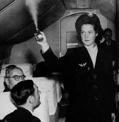 A cloud of insecticide containing DDT descends on passengers in this circa 1955 photo.  Although banned in the US in 1972, DDT was sprayed in US aircraft until 1989.